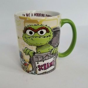 Oscar The Grouch Sesame St White/Green Coffee Mug